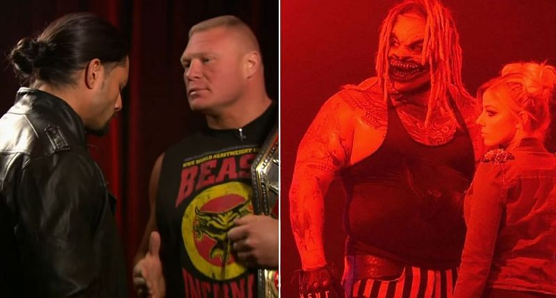 Roman Reigns and Brock Lesnar; The Fiend and Alexa Bliss