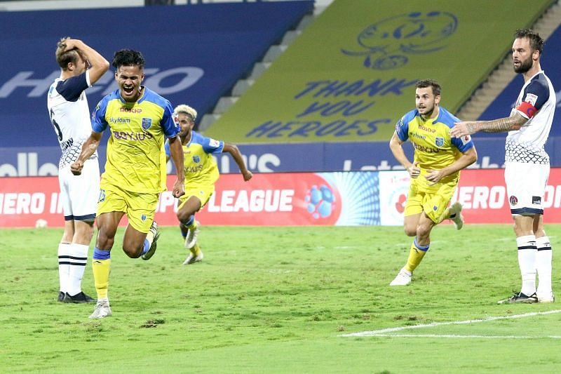 Kerala Blasters scored in the 95th minute in their previous game against SC East Bengal to eke out a point. (Image: Kerala Blasters FC)