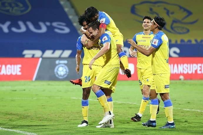 Kerala Blasters players celebrate a goal (Image courtesy: ISL)