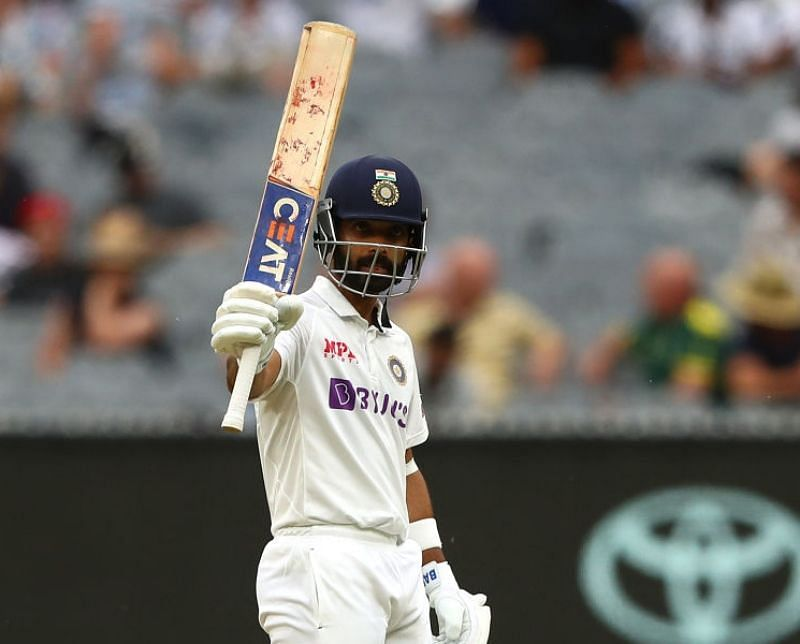 Ajinkya Rahane celebrates his hundred. Pic: BCCI/ Twitter