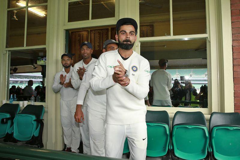 Virat Kohli celebrating the Test series victory against Australia in 2018-19