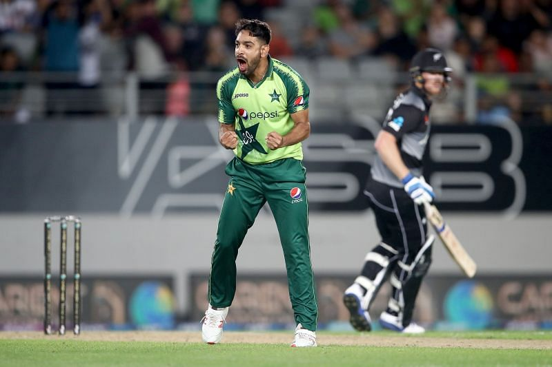 Haris Rauf in action against New Zealand