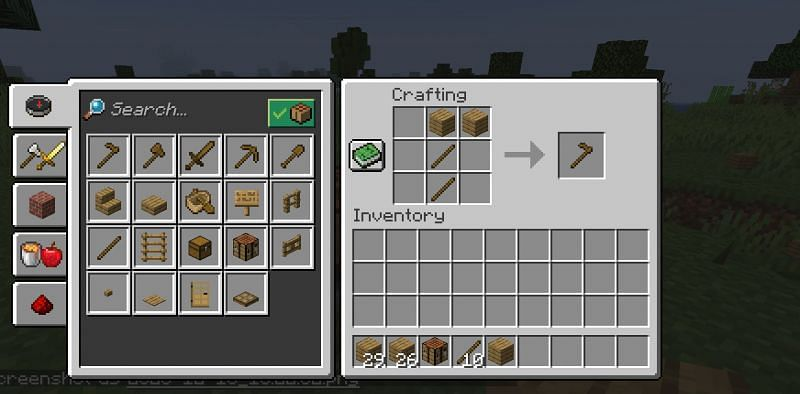 The crafting recipe for a wooden hoe in Minecraft. (Image via Minecraft)