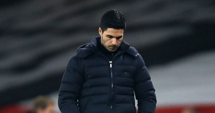 Mikel Arteta looks on after Arsenal lost a third consecutive league game at home this season.