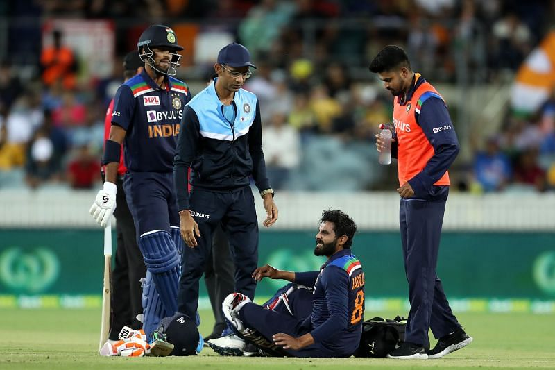 Ravindra Jadeja was hit on the head while batting in the last over of the Indian innings