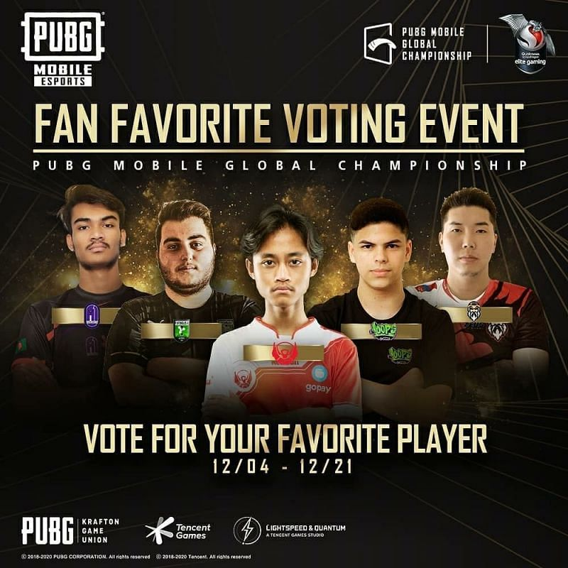 PUBG Mobile Esports fan-favorite nominees from the PMGC 2020
