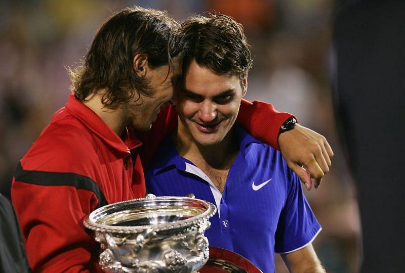 Rafael Nadal consoles Roger Federer at the 2009 Australian Open.