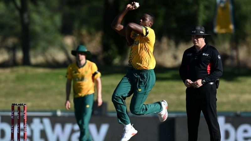 Kagiso Rabada will need at least three weeks to recover from a right adductor strain (Image Credits: ICC/Twitter)