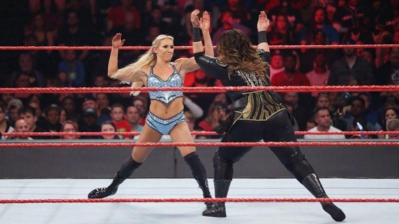 Charlotte Flair and Nia Jax on WWE RAW