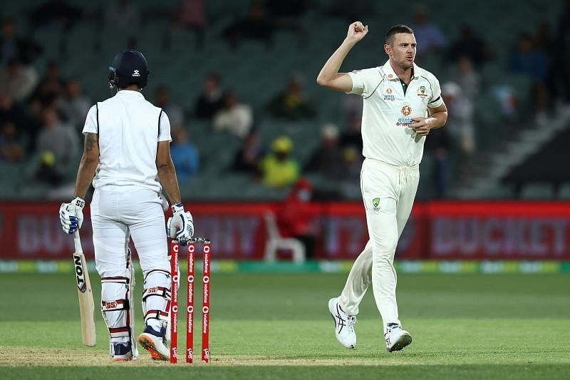 Josh Hazlewood (R) produced a haul of 5 for 8 from 5 overs in India