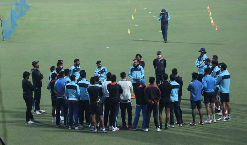 Coach Arun Lal with the Bengal Team.