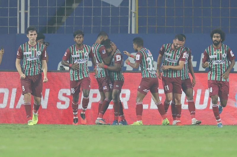 ATK Mohun Bagan players celebrate their goal in the 95th minute. (Courtesy - ISL)