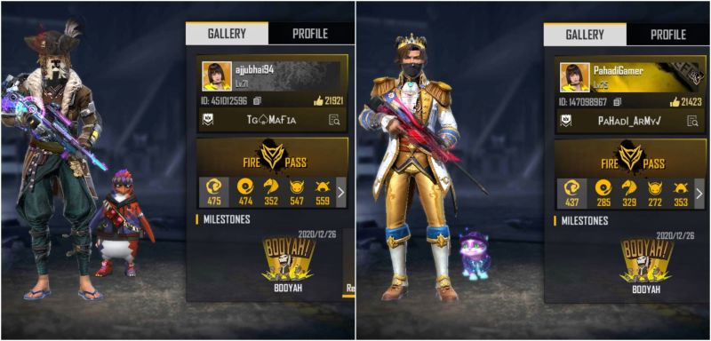 Garena Free Fire IDs of Ajjubhai and Pahadi Gaming