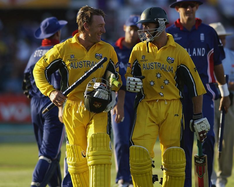 Michael Bevan (R) and Andy Bichel (L) after defeating England at the 2003 World Cup