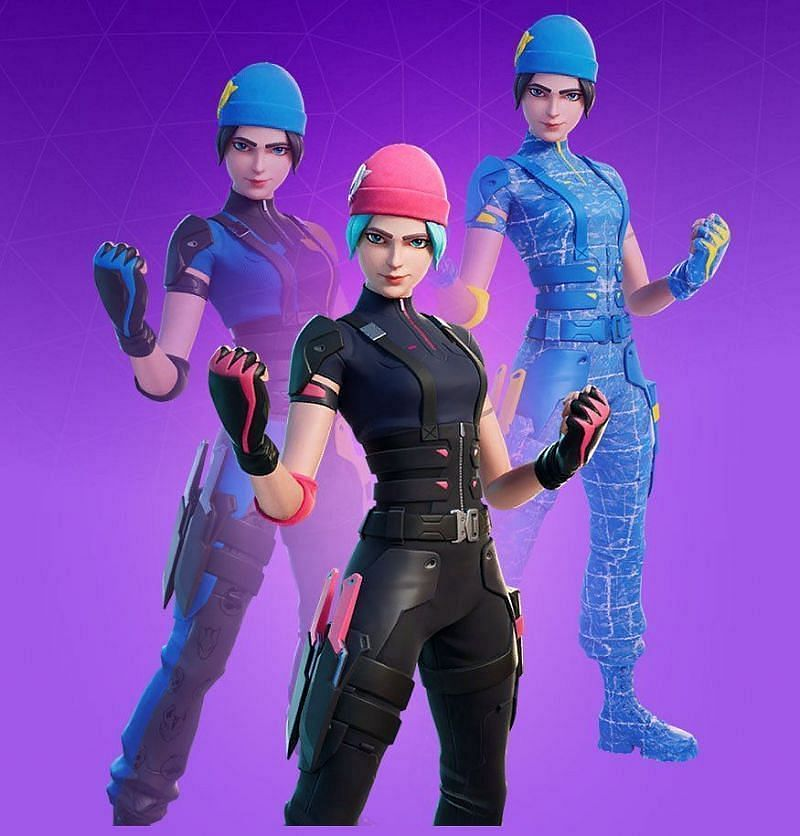 The three variants of the Wildcat outfit which are a part of the Fortnite Wildcat bundle (Image via Epic Games)