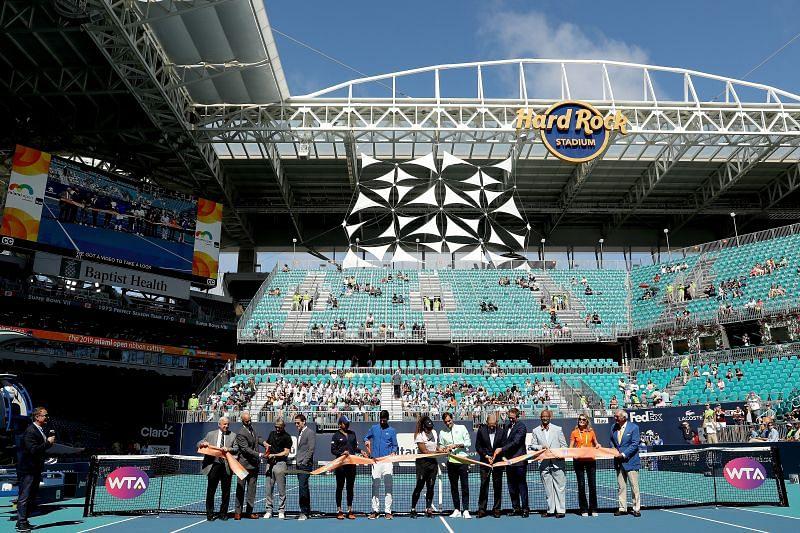 Naomi Osaka, Novak Djokovic, Serena Williams and Roger Federer during the 2019 Miami Masters
