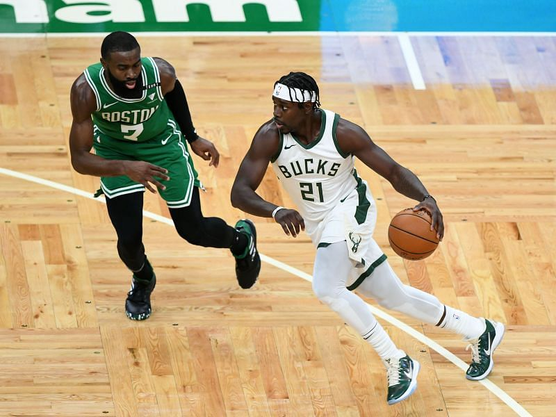 Jaylen Brown attempts to defend against Milwaukee Bucks