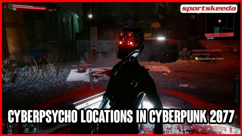 Cyberpsychos are powerful mini-bosses in Cyberpunk 2077, available in different parts of Night City (Image via Sportskeeda)