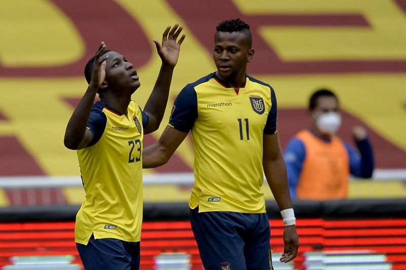 Caicedo (L) celebrates after scoring a goal for Ecuador