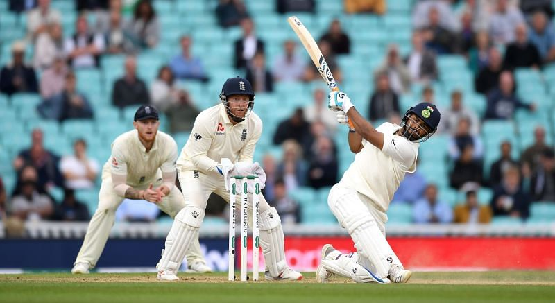 Rishabh Pant en route to his first Test hundred at The Oval, England.