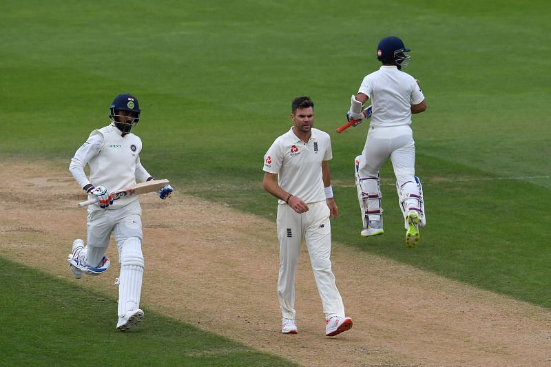 KL Rahul (L) and Ajinkya Rahane (R) en route their 118-run stand at the Oval in September 2018