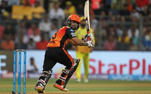Shreevats Goswami in action for the SunRisers Hyderabad.