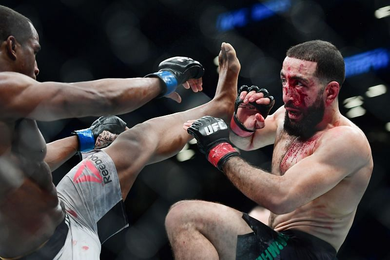 Geoff Neal (left) fights against Belal Muhammad