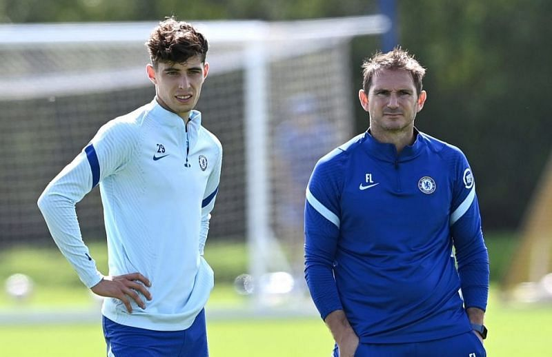 Kai Havertz and Frank Lampard (R) in Chelsea