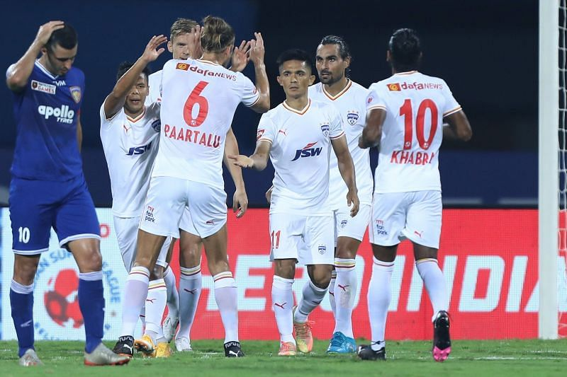 Bengaluru FC players celebrating a goal (Image courtesy: ISL)