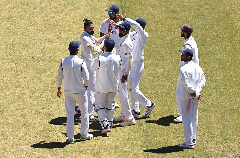 The Indians celebrating the wicket of Cameron Green in Australia