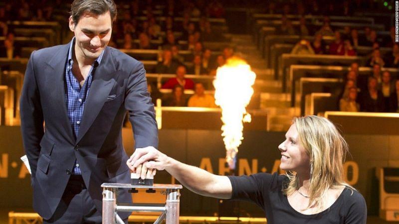 Roger Federer and Esther Vergeer (R)
