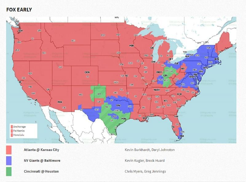Week 16 FOX Early Coverage Map