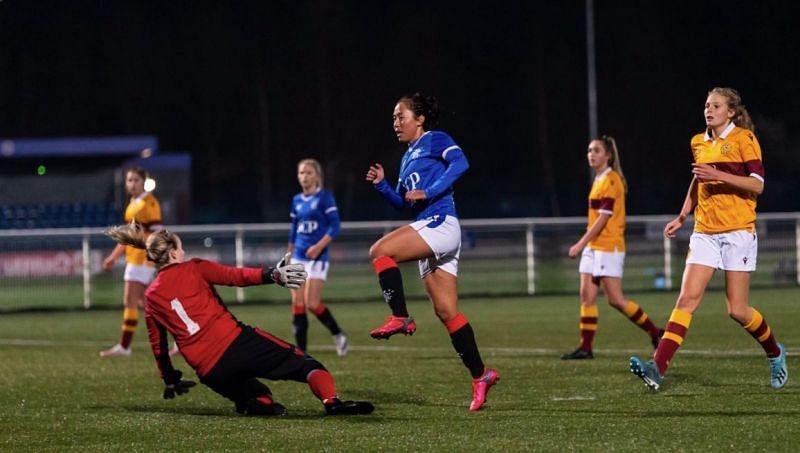 Bala Devi scoring a goal for Rangers Women (Image courtesy: Rangers Women Twitter)