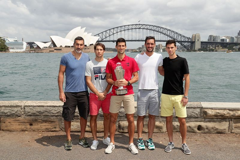 Novak Djokovic with the Serbian team at the 2020 ATP Cup