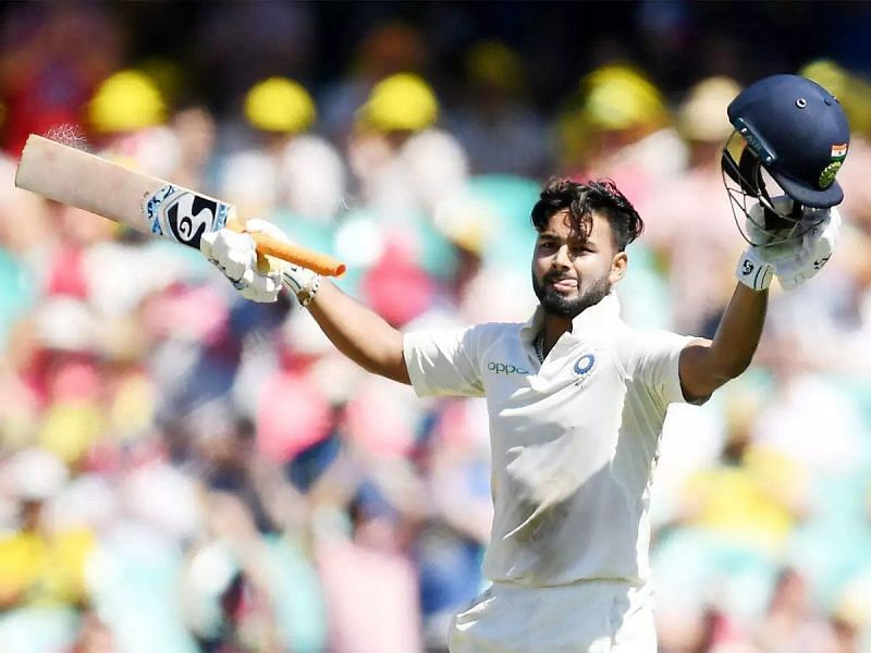 Rishabh Pant celebrates after scoring his hundred at Sydney