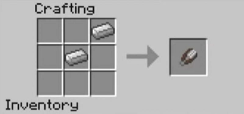 The crafting recipe for shears in Minecraft (Image via Minecraft)