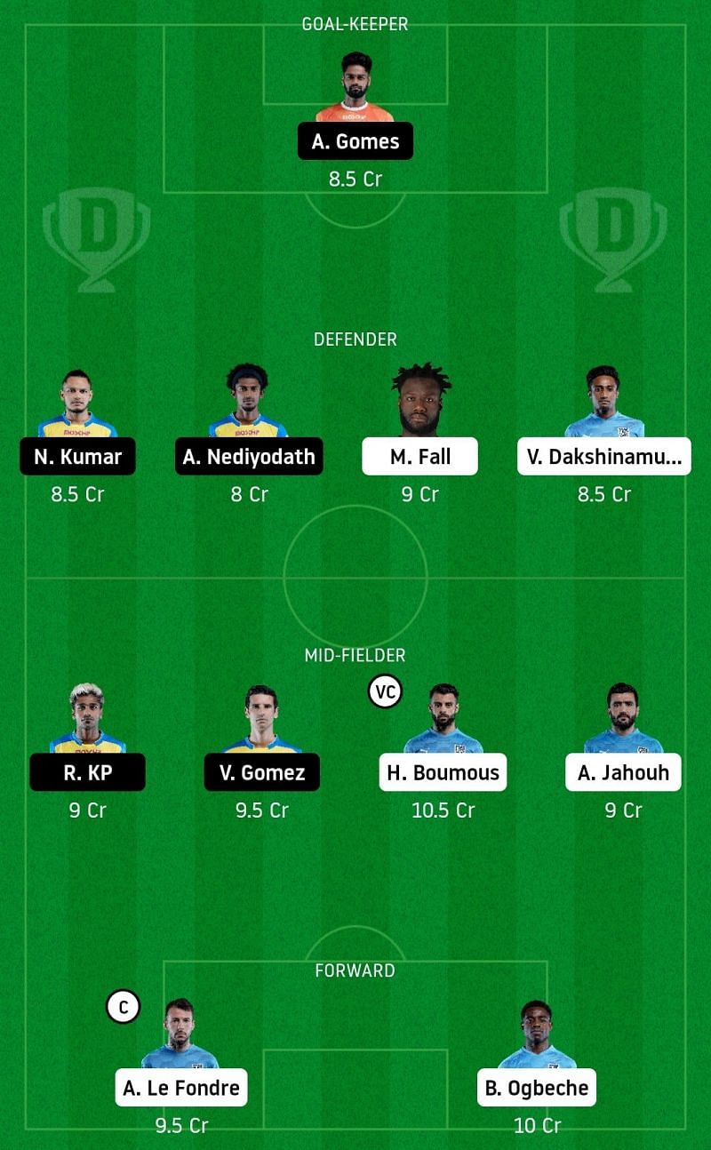 Dream11 Fantasy suggestion for the ISL match between Mumbai City FC and Kerala Blasters FC