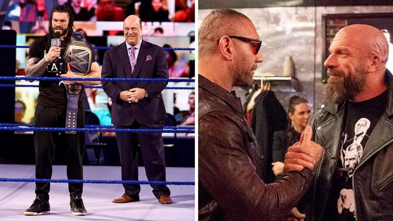 Roman Reigns (left); Batista and Triple H (right)