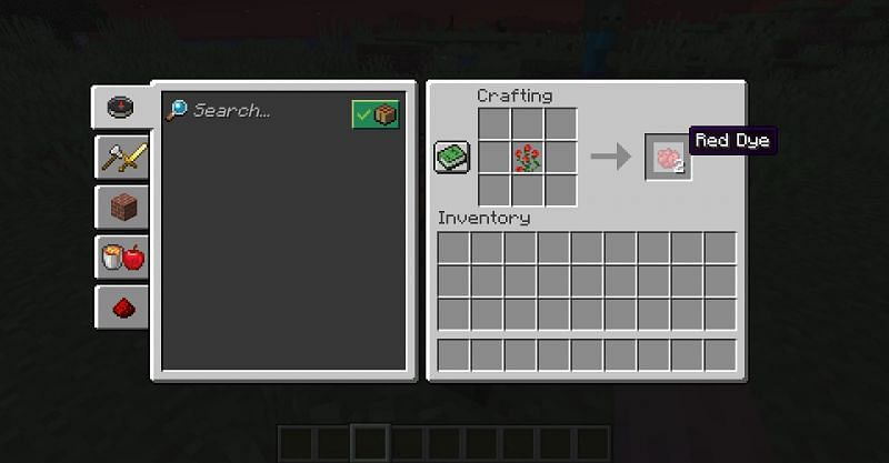 Crafting a rose bush into two red dye in Minecraft (Image via Minecraft)