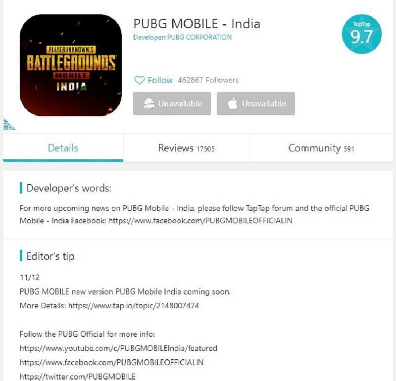 TapTap पर PUBG Mobile India का नकली प्री-रजिस्ट्रेशन पेज