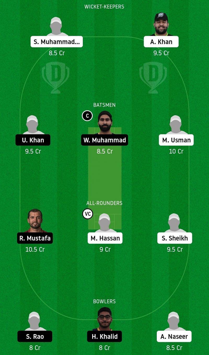 Dream11 Team for Dubai vs Fujairah - Emirates D20.