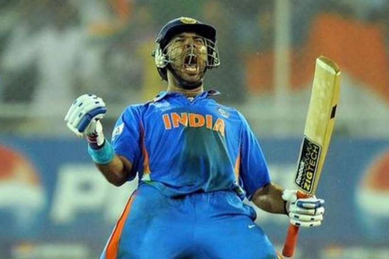 Yuvraj Singh celebrates after 2011 World Cup win against Australia