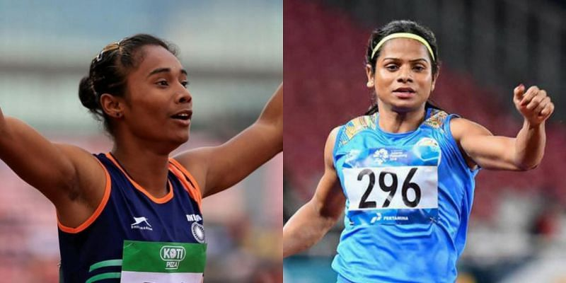 Hima Das (left) and Dutee Chand (right)
