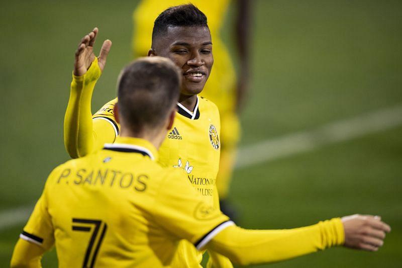 Pedro Santos of Columbus Crew celebrates with Luis Diaz #12 after scoring a goal in extra time