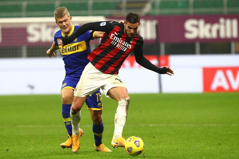 Theo in action for AC Milan