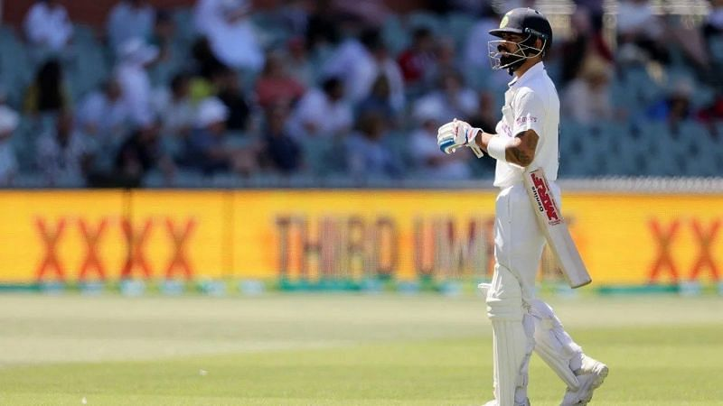 Virat Kohli dejected after being dismissed in the second innings at Adelaide