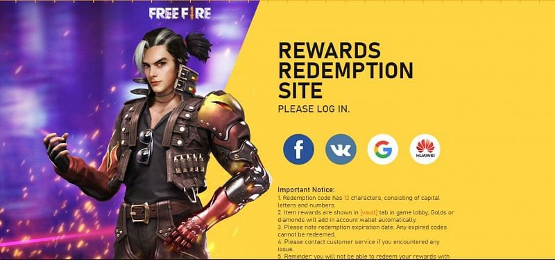 Redemption center on the official website of Free Fire