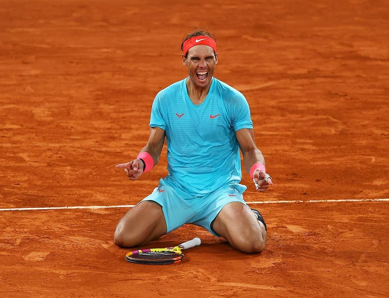 Rafael Nadal celebrates winning the 2020 French Open