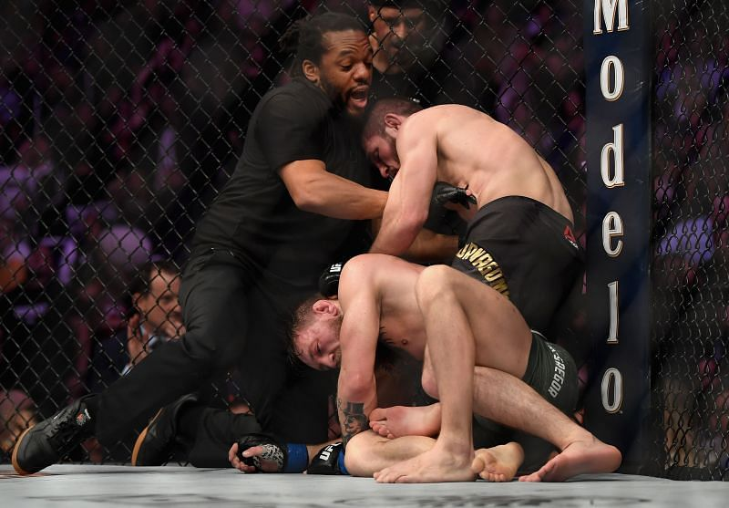 Herb Dean stopping the fight between Conor McGregor and Khabib Nurmagomedov