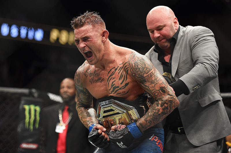 Dustin Poirier winning the lightweight championship after defeating Max Holloway at UFC 236